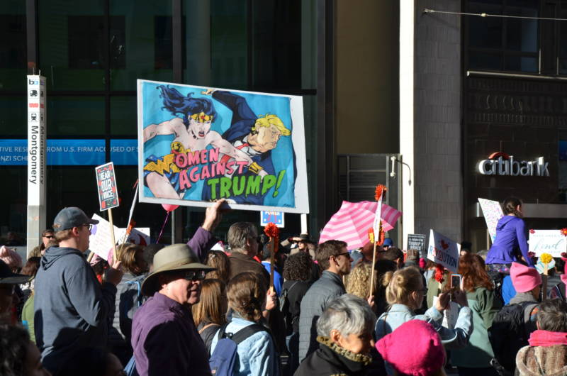 After two hours of speeches, thousands marched from City Hall, down Market Street to Embarcadero at the San Francisco Women's March on Jan. 20, 2018.