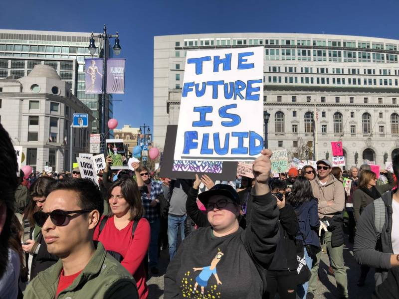 """My idea of the future is genderless,"" says Tess Fabeck at the San Francisco Women's March."