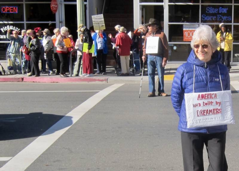 Maxine Hubbard-Cole was one of almost 60 residents of the Oakland senior living facility Piedmont Gardens in Oakland who staged their own short Women's March on Saturday, Jan. 20, 2018.