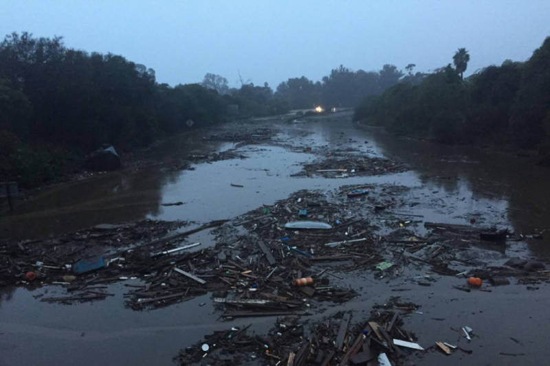 U.S. Highway 101 at Olive Mill Road in Montecito after mudslides in January 2018.