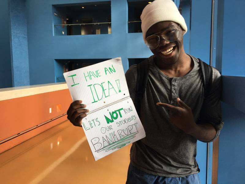UC Santa Cruz student Ayo Banjo drove in the night before Wednesday's meeting so he could tell UC Regents what the tuition increase would mean for him.