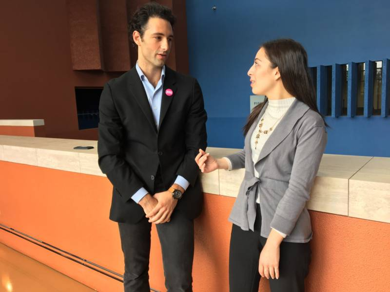 UC Student Association President Judith Gutierrez (R) with UC Berkeley student Max Lubin, who heads up the free tuition advocacy group RISE. The two organizations worked together to advocate against the tuition increase.