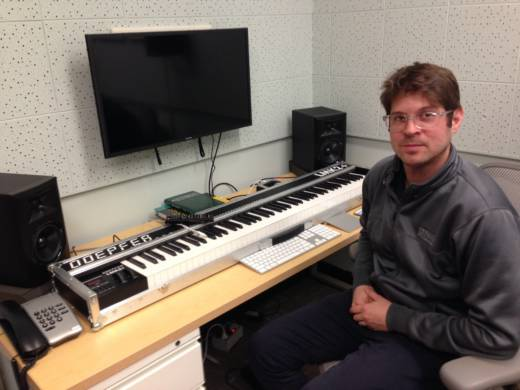 Grammy nominee and assistant professor Adam Schoenberg in his studio at Occidental College.