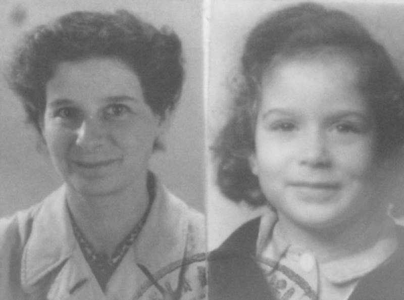 Passport photos of Maria Rosenthal and her daughter Elisabeth, circa 1946.