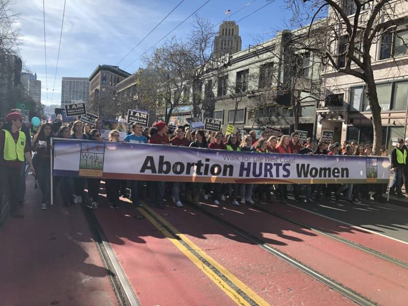 Thousands of anti-abortion advocates marched down Market Street on Saturday, Jan. 27, 2018, for the 14th annual Walk for Life West Coast.