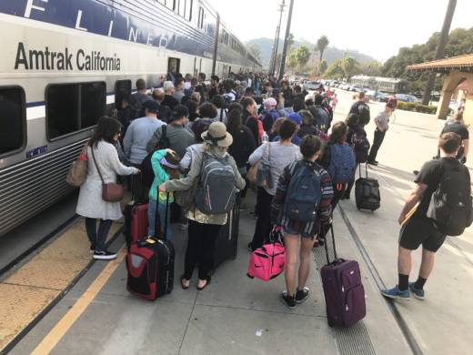 The Amtrak Pacific Surfliner is operating more (and longer) commuter trains along the Santa Barbara-Ventura coast while the 101 Freeway and other major roadways are closed off due to storm and mudslide damage.