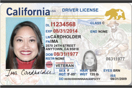 "This is what a California ""Real ID"" driver's license will look like. The federally compliant license can be used to board a domestic flight beginning in 2020."