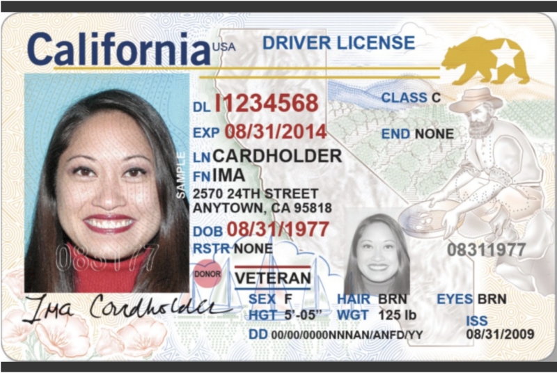 """This is what a California """"Real ID"""" driver's license will look like. The federally compliant license can be used to board a domestic flight beginning in 2020."""