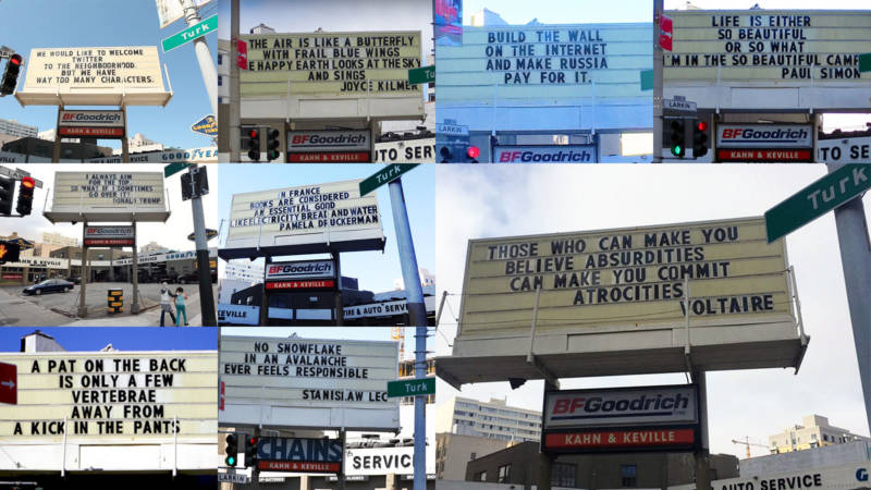 The sign in front of Khan and Keville, a tire shop in San Francisco's Tenderloin neighborhood.