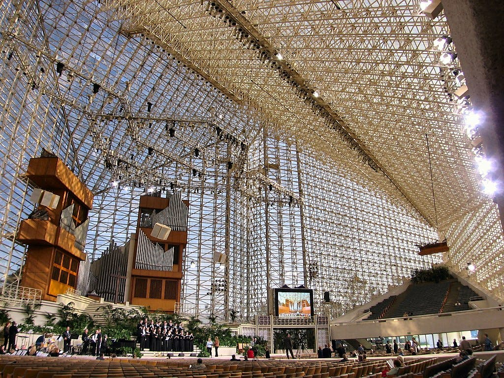"Founded in 1955, The Crystal Cathedral became famous for its weekly television show, ""The Hour of Power"" and glitzy holiday productions at Christmas and Easter."