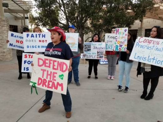 California State University, Fresno, student Rosa Salmeron rallies Dreamers and supporters outside the office of Rep. Kevin McCarthy, R-Bakersfield, House of Representative majority leader.