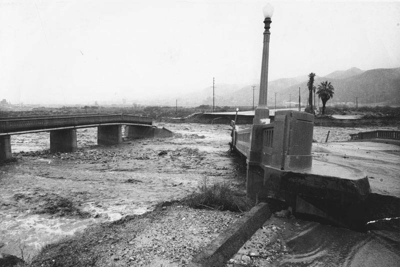 These two Los Angeles bridges collapsed from flood waters in 1969. These two Los Angeles bridges collapsed from flood waters in 1969.