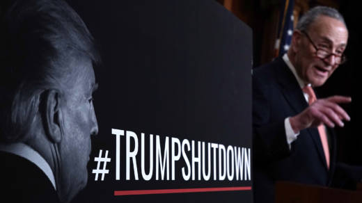 Senate Minority Leader Sen. Chuck Schumer, D-N.Y., speaks during a news conference on Saturday, arguing that the shutdown is mainly President Trump's fault. Republicans say Democrats manufactured the crisis over immigration.