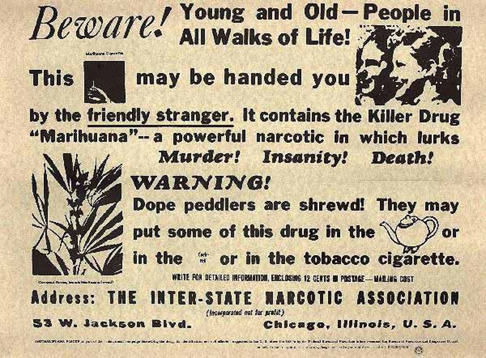 Antique advertisement warning about dangers of marijuana