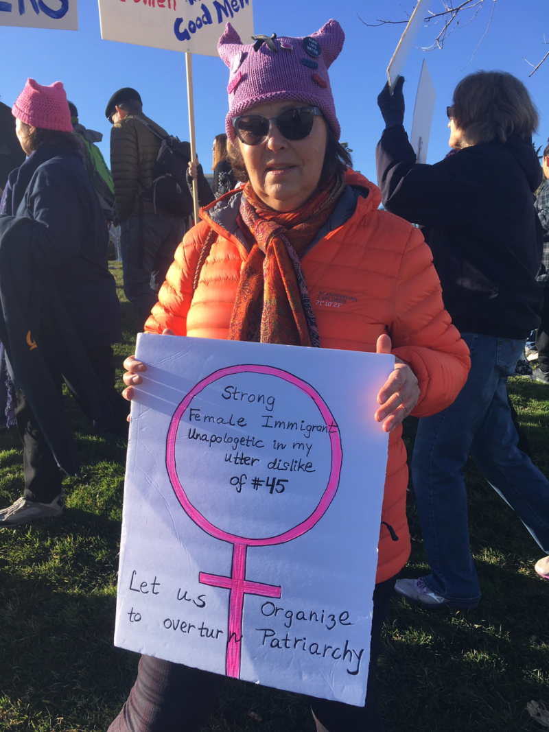 "Thorild Urdal is a Norwegian citizen who has lived in Oakland for more than 30 years. Even though she can't vote in American elections she came to the Oakland Women's March because she still has the power to ""educate and agitate."""