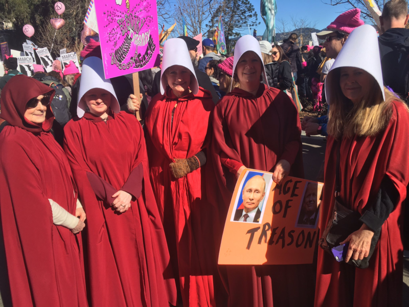 Jennifer Chambers (far right) of Alameda with her fellow handmaids at the Women's March in Oakland.