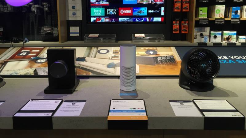 Virtual assistants on display at the Amazon store in San Jose.