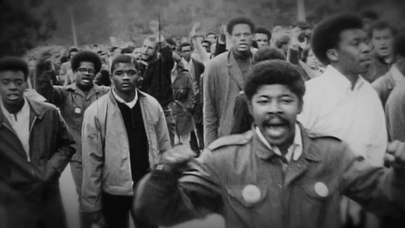 "A screen shot from the documentary ""Agents of Change"" shows students demonstrating on the S.F. State campus in 1968."