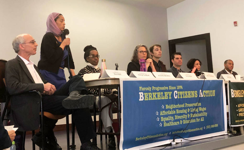 Candidates running for the 15th Assembly District appear at a forum in Berkeley on February 11, 2018.
