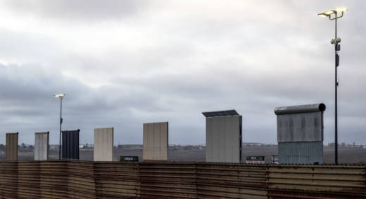 President Trump's border wall prototypes are seen from Mexico at the U.S.-Mexico border in Tijuana.