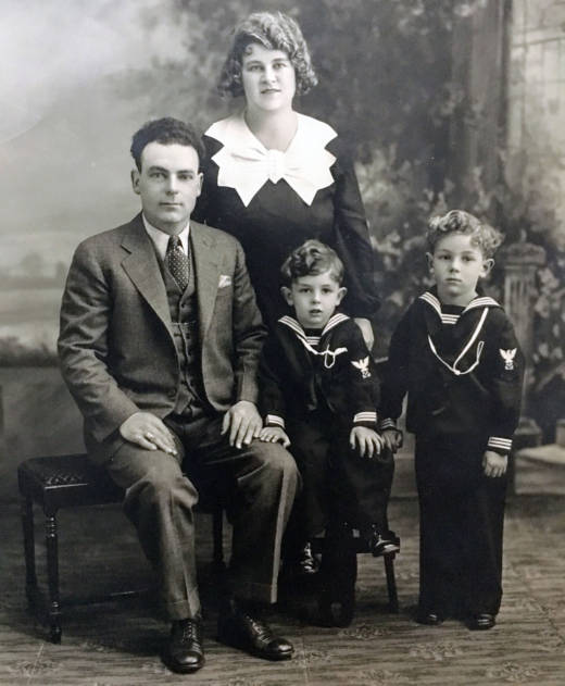 The Bronzini family: Guido, Clara, Lorenzo (seated), Al (standing), 1934-1935 Oakland.