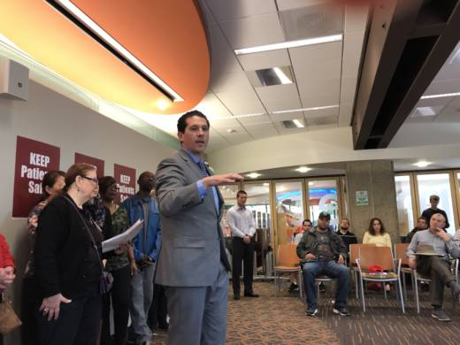 San Mateo County Supervisor David Canepa at the launch of signature gathering campaign for a health care pricing initiative in Palo Alto on February 3, 2018.