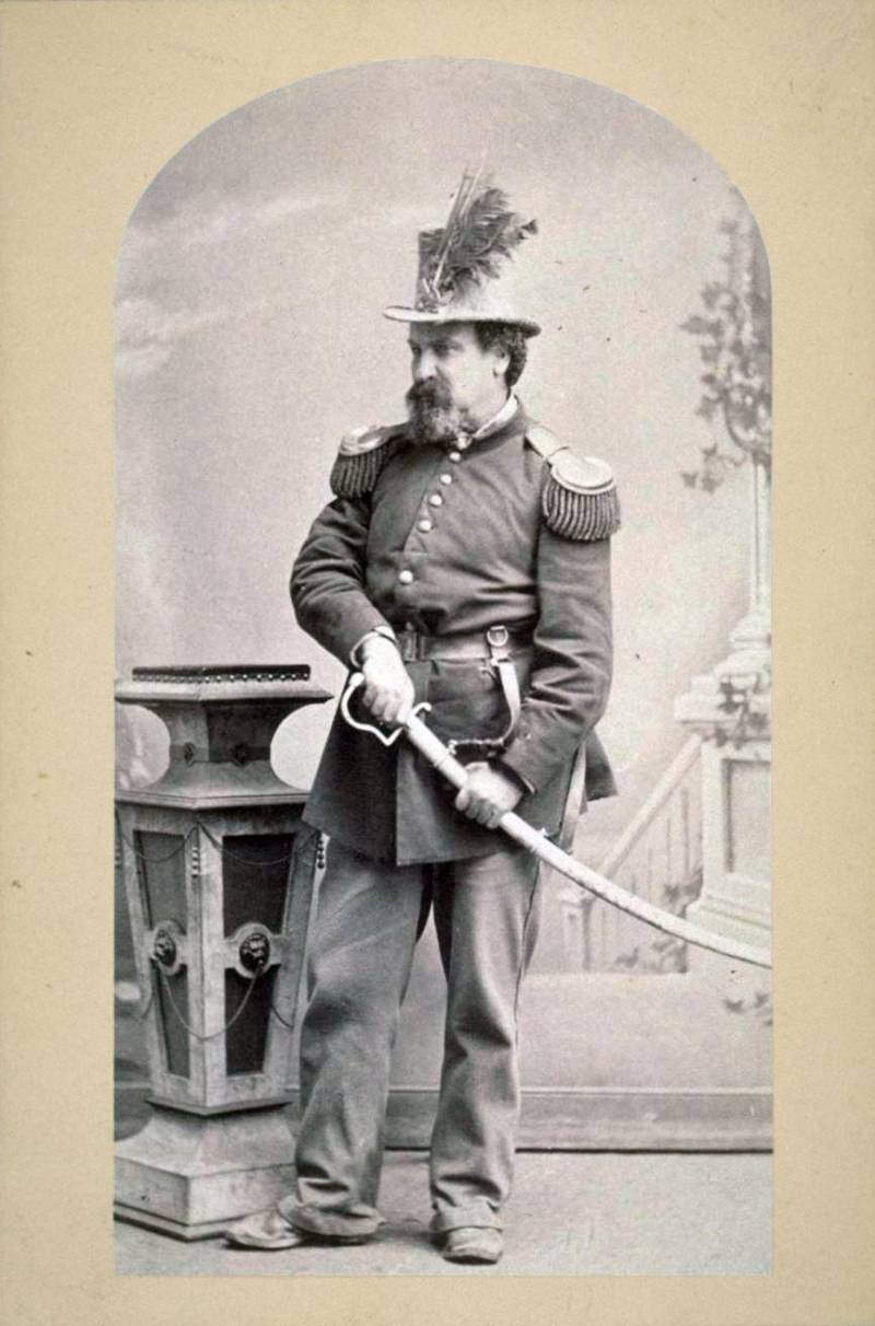 Emperor Norton in his traditional imperial outfit around 1875.