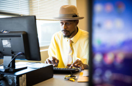 D'Marcus Frost applies for jobs at the Greater Sacramento Urban League. Gov. Jerry Brown's proposed online community college targets people like the League's clients -- working adults with high school diplomas but not college degrees.