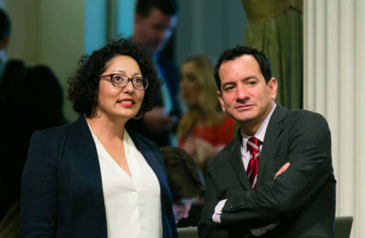 California State Assembly members Cristina Garcia (L) and Anthony Rendon in Sacramento on May 15, 2017. Garcia is the leader of the Legislative Women's Caucus.