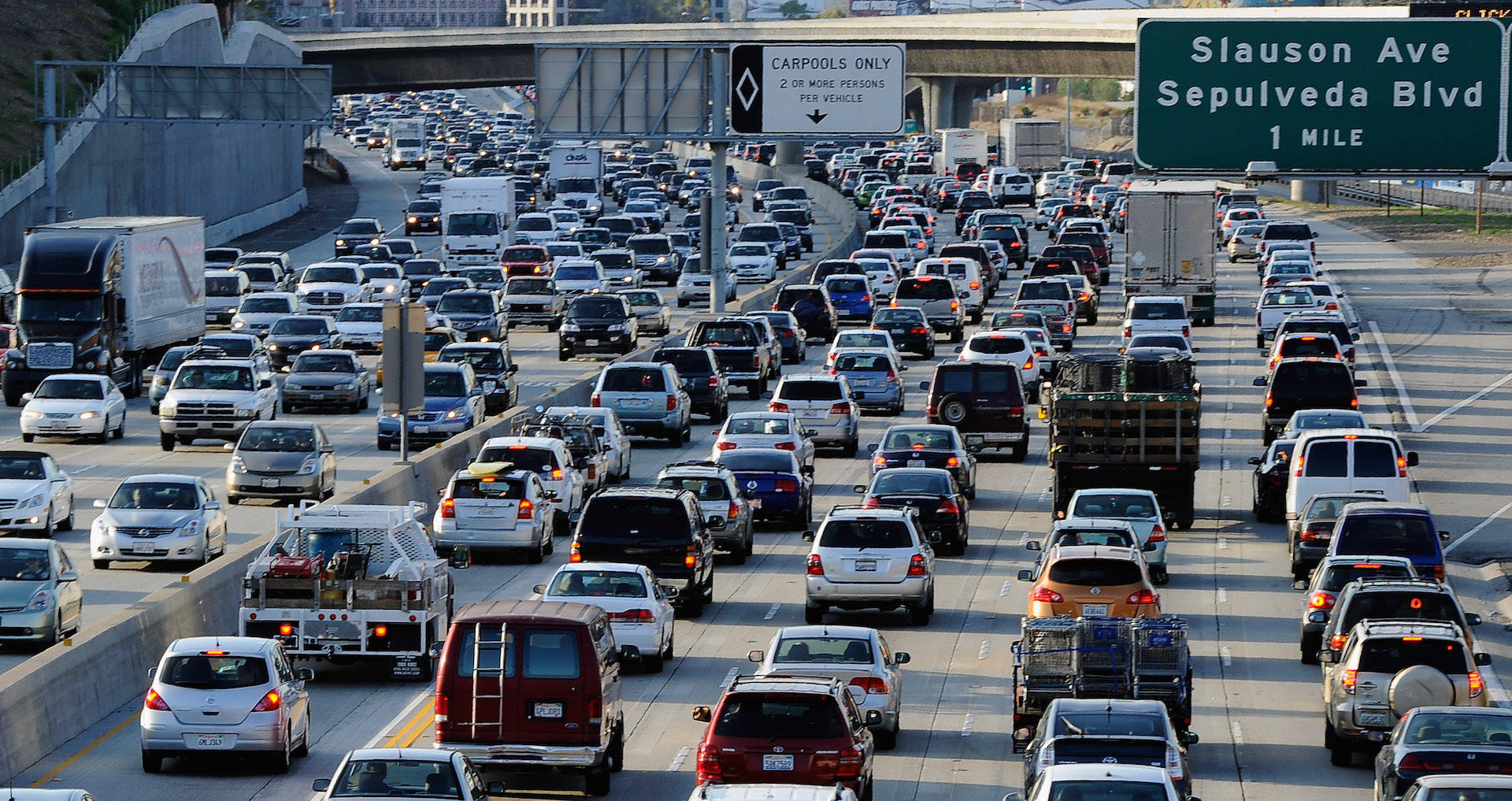 Traffic comes to a standstill on the northbound and southbound lanes of the Interstate 405 freeway near Los Angeles International Airport. Kevork Djansezian/Getty Images