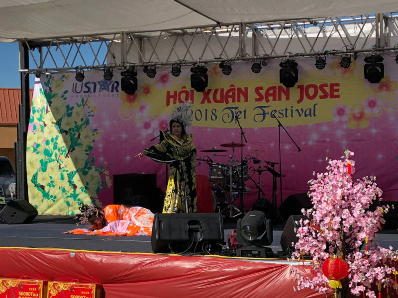 The San Jose Tet Festival featured performances. Above, a traditional Vietnamese dance symbolizing the mother-daughter relationship was put on by performers with Viet Entertainment.