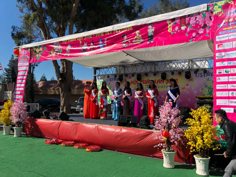 The Miss Vietnam California contestants took to the stage at the Tet Festival. The organization is one of many that came together to put on this free community event.