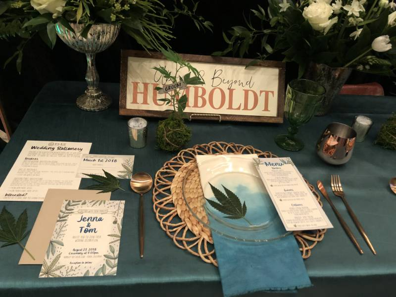 A sample cannabis-themed table setting at the Cannabis Wedding Expo. From edibles to the plates people will eat off of, vendors offered a myriad array of products.