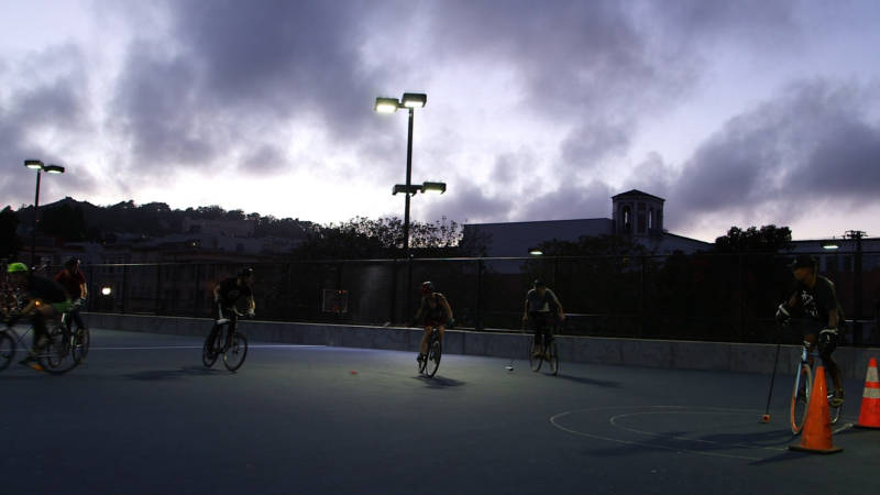The multiuse court where bike polo is played at Dolores Court opened in 2015.
