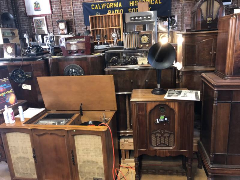 Vintage radio consoles, broadcast transmitters and phonographs clutter the California Historical Radio Society building in Alameda. The society's goal is to open a museum dedicated to these relics.