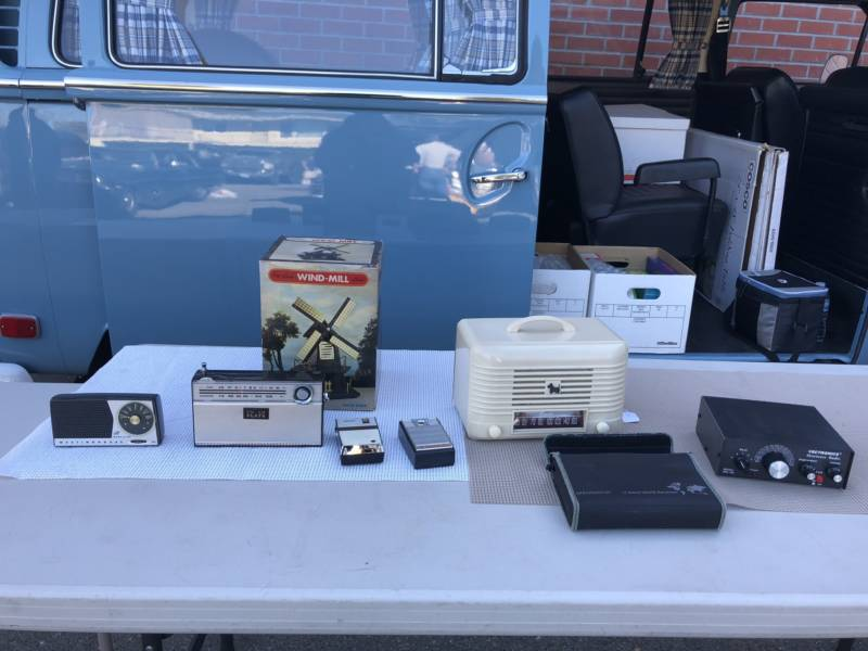 Old radios and transmitters sit on a table at the vintage radio swap meet at the California Historical Radio Society in Alameda on February 3, 2018.