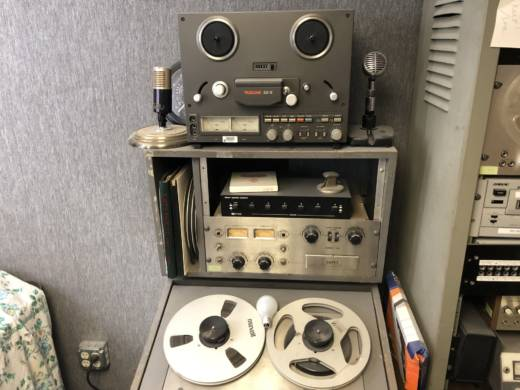 A tape-cutting radio relic is one of many pieces of broadcasting history at the California Historical Radio Society in Alameda.