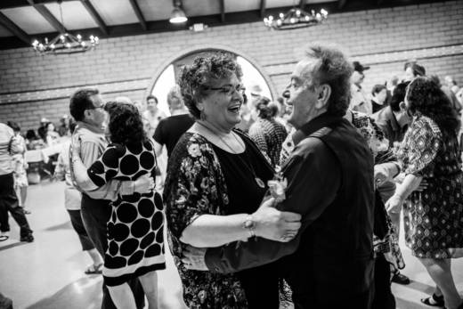 Blanca Acosta dances to boleros with another regular at the Thursday dance.