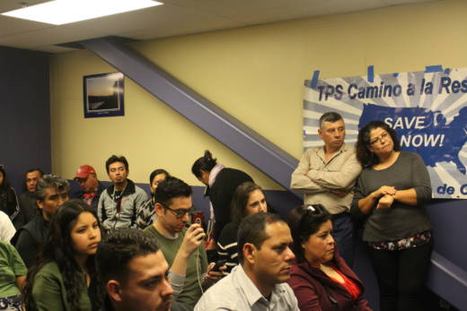Mariano Guzman and Mirna Medina stand at a legal consultation event for beneficiaries of Temporary Protected Status at the Salvadoran Consulate in San Francisco on Jan. 13, 2018. Guzman, a truck driver for a waste management company, said his employer let him go after his work authorization document expired.