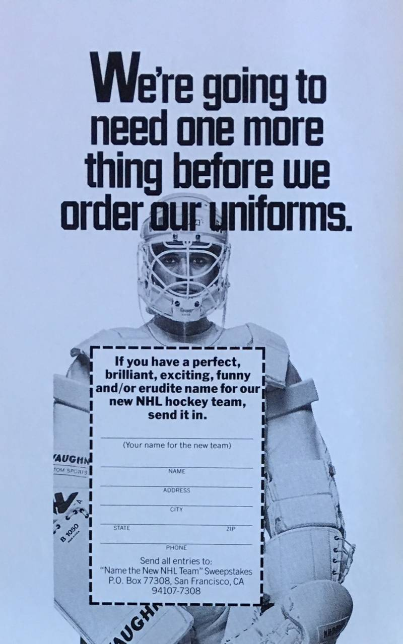 This ad ran in the San Francisco Chronicle, Oakland Tribune and San Jose Mercury News as part of the name the team sweepstakes.