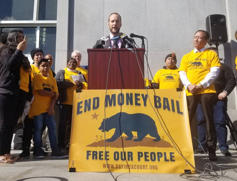 San Francisco Deputy Public Defender Chesa Boudin discusses bail reform on Feb. 20, 2018, at the city's Hall of Justice. A recent California appellate court ruling requires judges to consider a defendant's ability to pay when setting bail.