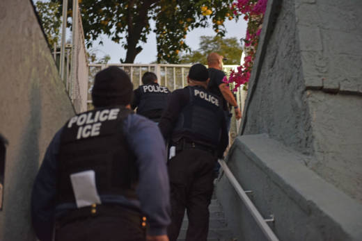 U.S. Immigration and Customs Enforcement agents in Los Angeles on Feb. 11, 2018 during an immigration enforcement operation that resulted in more than 200 arrests over a five-day period, according to the agency.