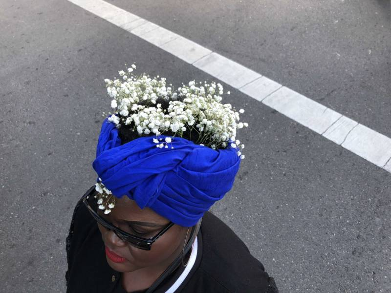 Tamarah Humphrey of San Francisco attends the inaugural Black Joy Parade in Oakland on Sunday.