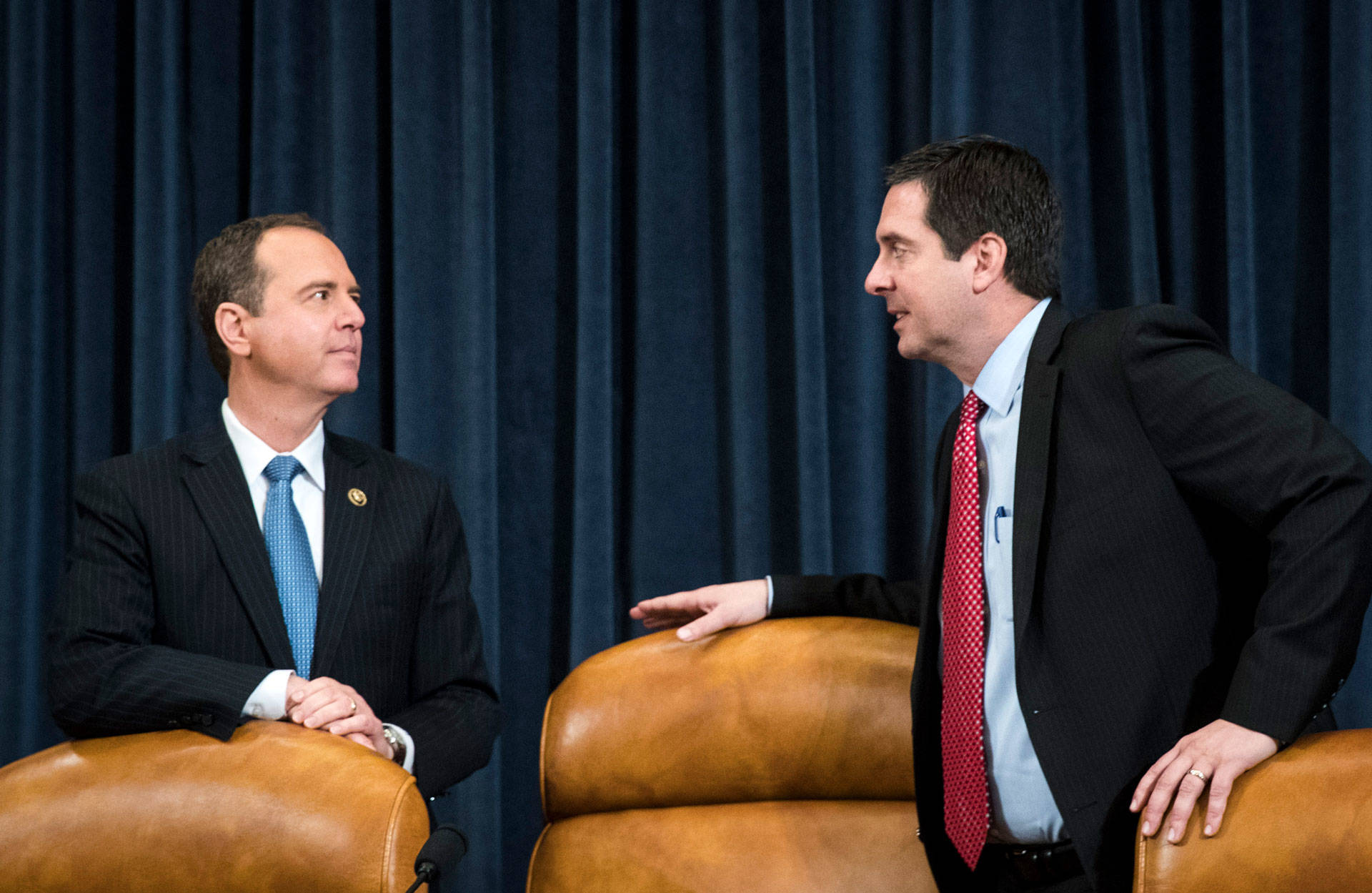 House Intelligence Committee Ranking Member Adam Schiff, D-Calif. (left), and Chairman Devin Nunes, R-Calif., are taking their feud over intelligence memoranda into a new week. Drew Angerer/Getty Images