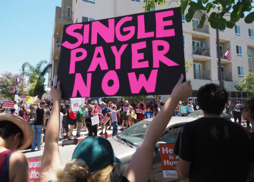 People rally in favor of single-payer health care for all Californians as the U.S. Senate prepared to vote on the Senate GOP health care bill, outside the office of California Assembly Speaker Anthony Rendon, on June 27, 2017.