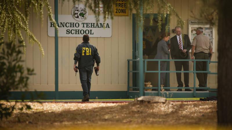 Outside Rancho Tehama Elementary School after the shooting on Nov. 14, 2017.