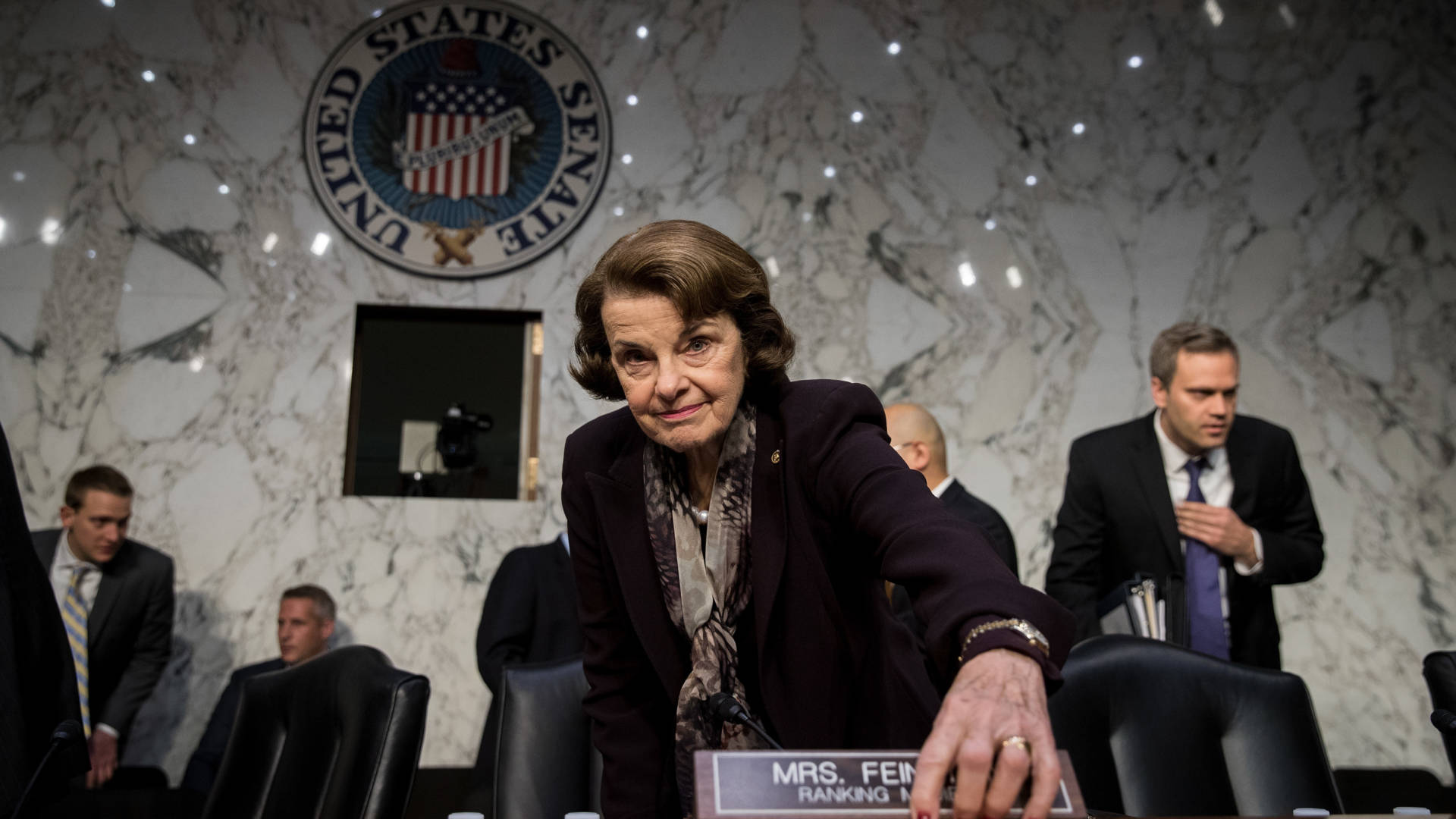 Ranking member Sen. Dianne Feinstein arrives for a Judiciary Committee hearing on Capitol Hill in December. Critics have raised questions about her age as she runs for re-election. Drew Angerer/Getty Images