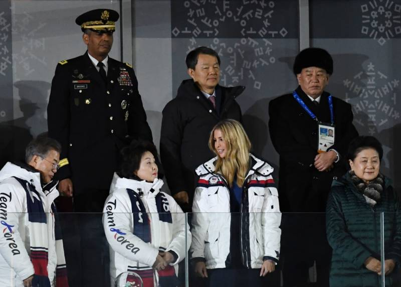 South Korea's President Moon Jae-in (left), his wife Kim Jung-sook (second left), Ivanka Trump (second right) and North Korean Gen. Kim Yong Chol (back right) attend the closing ceremony.