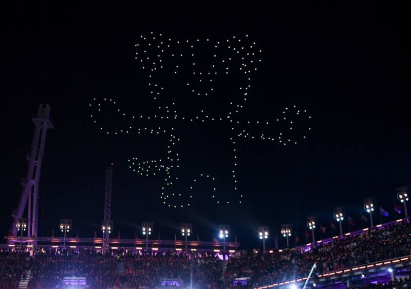 Drones light up the sky in the shape of Soohorang, the white tiger Pyeongchang Winter Olympic Games mascot.