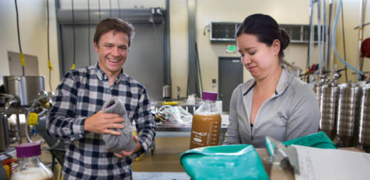 Charles Denby and his colleague, Rachel Li, prepare to pour their yeast samples into beer fermenters at the brewery at UC Davis.
